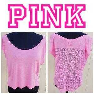 VS Pink top hi low hem lace cap sleeve Small